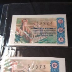 Lotería Nacional: DOS DÉCIMOS DE LOTERIA NACIONAL 1962. Lote 133237210