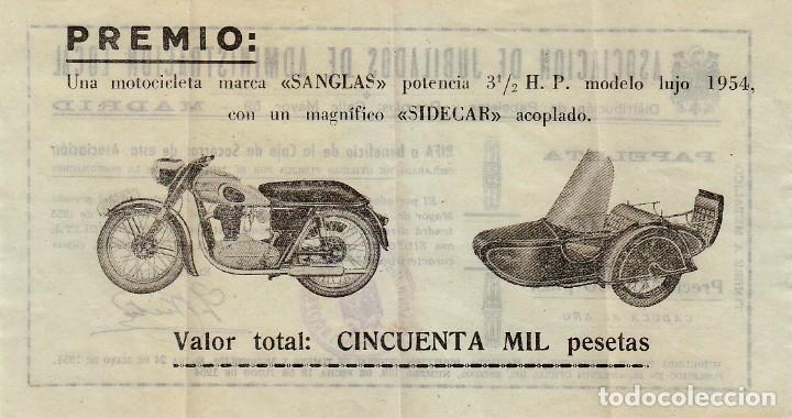 FANTÁSTICA PAPELETA SORTEO MOTOCICLETA SANGLAS Y SIDECAR. LOTERÍA NACIONAL 1955. ASOCIACIÓN MADRID (Coleccionismo - Lotería Nacional)