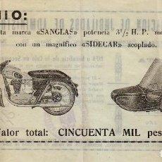 Lotería Nacional: FANTÁSTICA PAPELETA SORTEO MOTOCICLETA SANGLAS Y SIDECAR. LOTERÍA NACIONAL 1955. ASOCIACIÓN MADRID . Lote 133523206