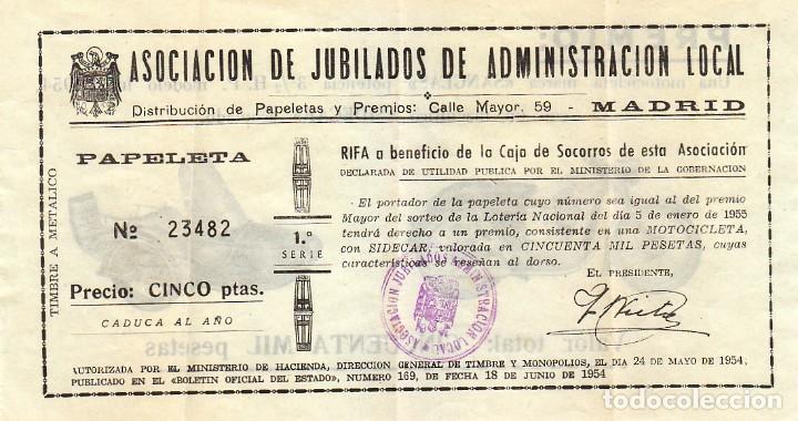 Lotería Nacional: Fantástica papeleta sorteo motocicleta Sanglas y sidecar. Lotería Nacional 1955. Asociación Madrid - Foto 2 - 133523206