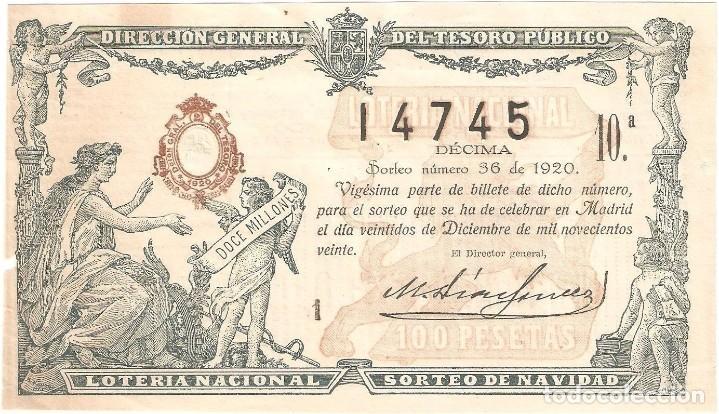 DECIMO LOTERIA NAVIDAD 1920 (Coleccionismo - Lotería Nacional)