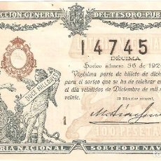 Lotería Nacional: DECIMO LOTERIA NAVIDAD 1920. Lote 133678966