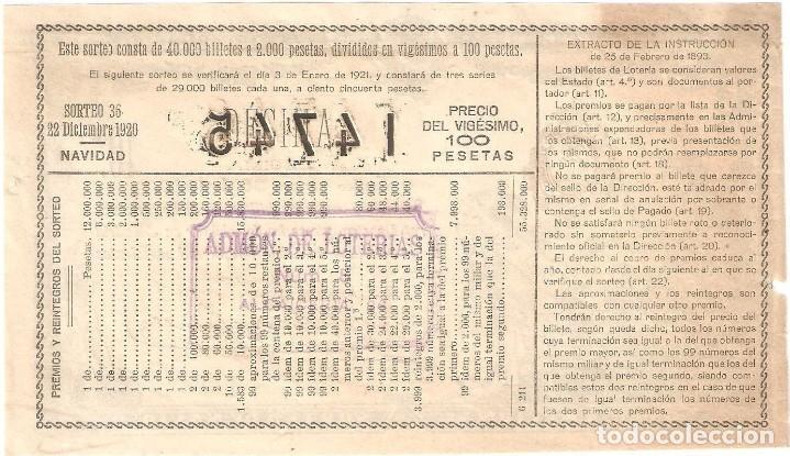 Lotería Nacional: decimo loteria Navidad 1920 - Foto 2 - 133678966
