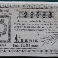 Lotteria Nationale Spagnola: LON1 351705 LOTERIA NACIONAL, AÑO 1935 SORTEO 17. Lote 134441270