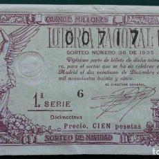 Lotería Nacional: LOTERIA NACIONAL, AÑO 1935 SORTEO 36 ( D - 0355 ). Lote 134561358