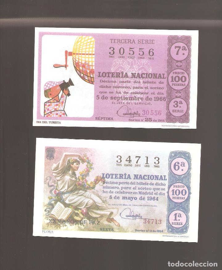 2 BILLETES DE LOTERIA AÑO 1964- 1966 EN MUY BUEN ESTADO (Coleccionismo - Lotería Nacional)