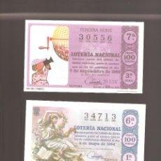 Lotería Nacional: 2 BILLETES DE LOTERIA AÑO 1964- 1966 EN MUY BUEN ESTADO . Lote 134993778