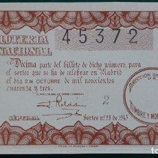 Lotería Nacional: LOTERIA NACIONAL, AÑO 1943 SORTEO 28 ( D - 0491 ). Lote 135166018