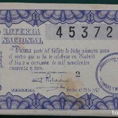 Lotería Nacional: LOTERIA NACIONAL, AÑO 1943 SORTEO 28 ( D - 0500 ). Lote 135166922