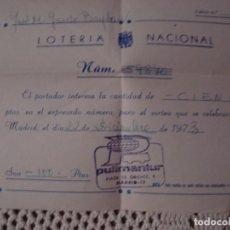 Lotería Nacional: PARTICIPACION PULLMANTUR. Lote 135281550