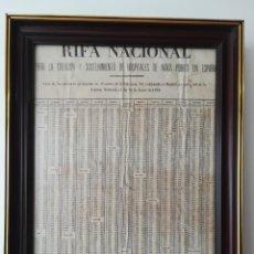 Lotería Nacional: HOJA PERIÓDICO UNICA AÑO 1879 LOTERÍA NACIONAL LISTA DE PREMIADOS.. Lote 135665539