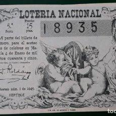 Lotería Nacional: LOTERIA NACIONAL, AÑO 1945 SORTEO 1 ( D - 0604 ). Lote 135707179