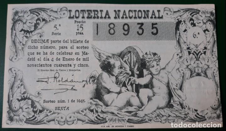 LOTERIA NACIONAL, AÑO 1945 SORTEO 1 ( D - 0605 ) (Coleccionismo - Lotería Nacional)