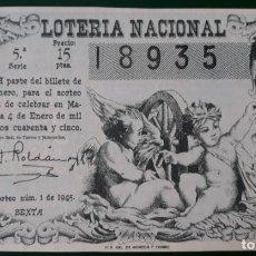 Lotería Nacional: LOTERIA NACIONAL, AÑO 1945 SORTEO 1 ( D - 0605 ). Lote 135707431