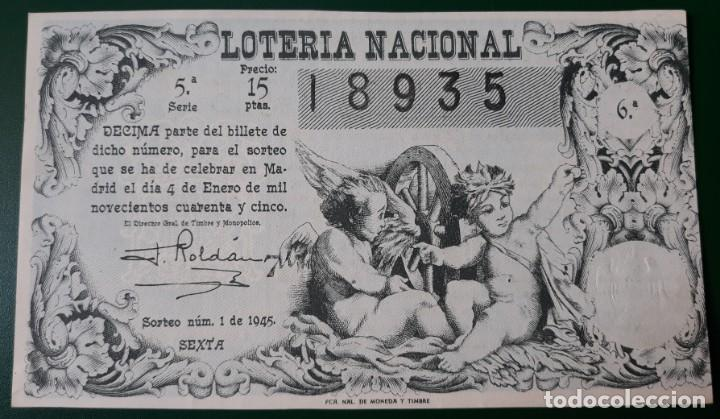 LOTERIA NACIONAL, AÑO 1945 SORTEO 1 ( D - 0606) (Coleccionismo - Lotería Nacional)