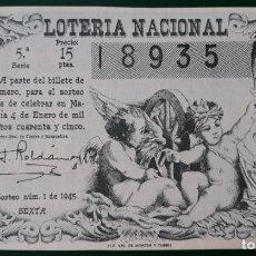 Lotería Nacional: LOTERIA NACIONAL, AÑO 1945 SORTEO 1 ( D - 0606). Lote 135707795