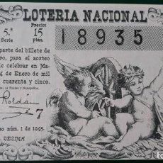 Lotería Nacional: LOTERIA NACIONAL, AÑO 1945 SORTEO 1 ( D - 0607 ). Lote 135708127