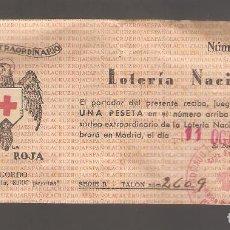 Lotería Nacional: 1 BILLETE LOTERIA NACIONAL DE LA CRUZ ROJA 11/10/1939 MADRID. Lote 135712047