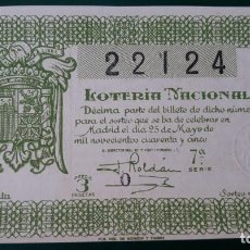 Lotería Nacional: LOTERIA NACIONAL, AÑO 1945 SORTEO 15 ( D - 0625 ). Lote 135805622
