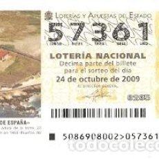 Lotería Nacional: DÉCIMO LOTERÍA NACIONAL, SORTEO Nº 86 DE 2009. FARO DE TORROX. MÁLAGA. REF. 9-0986. Lote 137567658