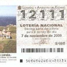 Lotería Nacional: DÉCIMO LOTERÍA NACIONAL, SORTEO Nº 90 DE 2009. FARO DE PUNTA DE ESTACA DE BARES. REF. 9-0990. Lote 137567826