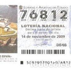 Lotería Nacional: DÉCIMO LOTE´RIA NACIONAL, SORTEO Nº 92 DE 2009. FARO DE TAPIA. ASTURIAS. REF. 9-0992. Lote 137567886