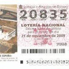 Lotería Nacional: DÉCIMO LOTERÍA NACIONAL, SORTEO Nº 94 DE 2009. FARO DE GARRUCHA. ALMERÍA. REF. 9-0994. Lote 137567998