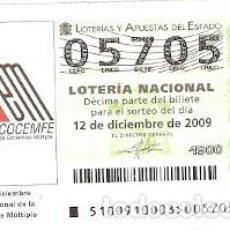 Lotería Nacional: DÉCIMO LOTERÍA NACIONAL, SORTEO Nº 100 DE 2009. DÍA NACIONAL DE LA ESCLEROSIS MÚLTIPLE. REF. 9-09100. Lote 137568254