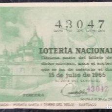 Lotería Nacional: LOTERIA NACIONAL. DÉCIMO AÑO 1965, SORTEO Nº 20. Lote 138877694
