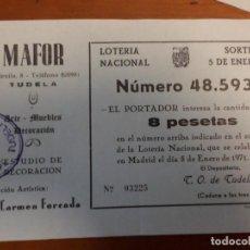 Lotería Nacional: LOTERIA NACIONAL 48.593 MARIA FORCADA TUDELA NAVARRA. Lote 139539486