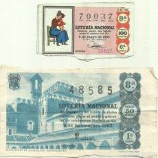 Lotería Nacional: DÉCIMOS DE LOTERIA, AÑOS 1962 Y 1969.. Lote 139604582