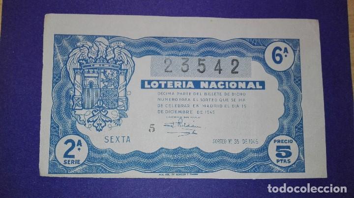 DECIMO DE LOTERIA DE 1945 SORTEO 35 (Coleccionismo - Lotería Nacional)
