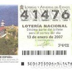 Lotería Nacional: DÉCIMO. SORTEO Nº 4 DE 2007. FAROS DE ESPAÑA. GETARIA-GUIPÚZCOA. REF. 9-0704. Lote 140042890