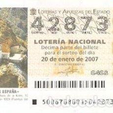 Lotería Nacional: DÉCIMO. SORTEO Nº 6 DE 2007. FAROS DE ESPAÑA. TIÑOSO - MURCIA. REF. 9-0706. Lote 140043018