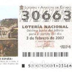 Lotería Nacional: DÉCIMO. SORTEO Nº 10 DE 2007. FAROS DE ESPAÑA. LUARCA - ASTURIAS. REF. 9-0710. Lote 140043378