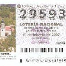 Lotería Nacional: DÉCIMO. SORTEO Nº 12 DE 2007. FAROS DE ESPAÑA. CALELLA - BARCELONA. REF. 9-0712. Lote 140043502