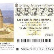 Lotería Nacional: DÉCIMO. SORTEO Nº 14 DE 2007. FAROS DE ESPAÑA. TORRE DE HÉRCULES. A CORUÑA. REF. 9-0714. Lote 140043630