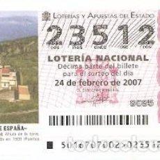 Lotería Nacional: DÉCIMO. SORTEO Nº 16 DE 2007. FAROS DE ESPAÑA. MATXIXACO - VIZCAYA. REF. 9-0716. Lote 140043778