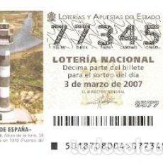 Lotería Nacional: DÉCIMO. SORTEO Nº 18 DE 2007. FAROS DE ESPAÑA. BANYA - TARRAGONA. REF. 9-0718. Lote 140043906
