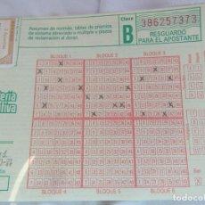 Lotería Nacional: RESGUARDO SELLADO PRIMITIVA 8-10-1987 3 APUESTAS. Lote 140049310
