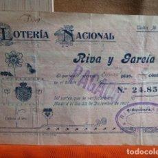 Lotería Nacional: LOTERIA NACIONAL BOLETO PAGADO EN 1907. Lote 140477318