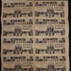 Lotería Nacional: BILLETE 10 DECIMOS LOTERIA NACIONAL 1945 SORTEO 33. Lote 140834466