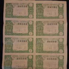 Lotería Nacional: BILLETE 10 DECIMOS LOTERIA NACIONAL 1946 SORTEO 18. Lote 140834738