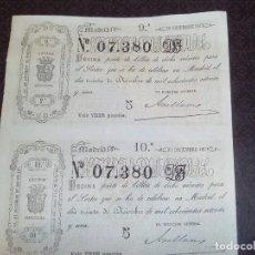 Lotería Nacional: LOTERIA NACIONAL 30 DE DICIEMBRE 1871,ADMINISTRACION SALAMANCA 07.380, DOS DECIMOS. Lote 140954058