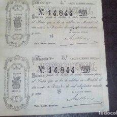 Lotería Nacional: BILLETE LOTERIA NACIONAL 30 DICIEMBRE 1871,ADMINSITRACION SALAMANCA N.14.844 ,2 DECIMOS. Lote 140954182