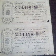 Lotería Nacional: BILLETE LOTERIA NACIONAL 30 DICIEMBRE 1871,ADMINSITRACION SALAMANCA N.11.196 ,2 DECIMOS. Lote 140954242