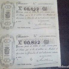 Lotería Nacional: BILLETE LOTERIA NACIONAL 30 DICIEMBRE 1871,ADMINISTRACION SALAMANCA N.00.892 ,2 DECIMOS. Lote 140954362