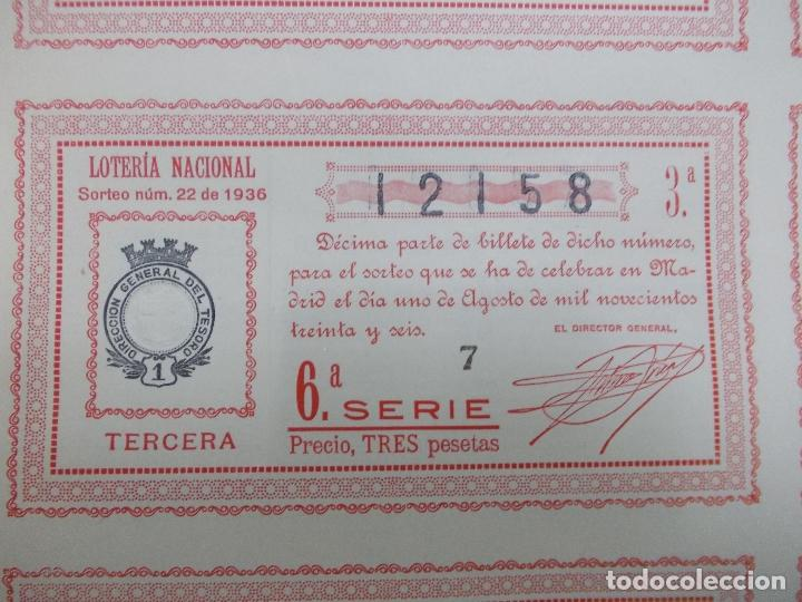 Lotería Nacional: Billete de loteria nacional nº 12158 3º-6º serie 1 de agosto 1936 Guerra Civil no doblado buen estad - Foto 2 - 140975202