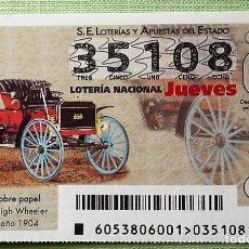 Lotería Nacional: ESPAÑA. LOTERÍA. 2018. SORTEO: 53 SCHACHT HIGH WHEELER. EE.UU. 1904. FECHA: 5 JULIO.. Lote 141924309