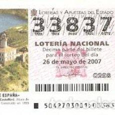 Lotería Nacional: DÉCIMO LOTERÍA, SORTEO Nº 42 DE 2007. FAROS DE ESPAÑA. ISLAS COLUMBRETES. CASTELLÓN. REF. 9-0742. Lote 142072650